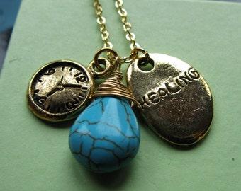 Last one Time Heals All healing necklace better day watch clock turquoise briolette rune nugget coin circle boho lucky charms necklace