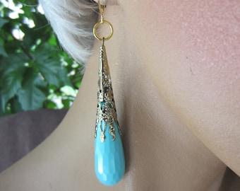 Long Teardrop Earrings Aqua Gold Tone Stunning