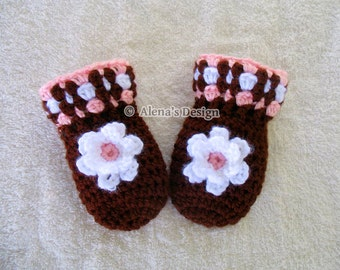 Crochet Pattern 034 - Baby Mittens Pattern - Baby  Thumb-less  Mittens - Baby Girl - Crochet Glove Pattern - Baby Brown Mittens with Flower