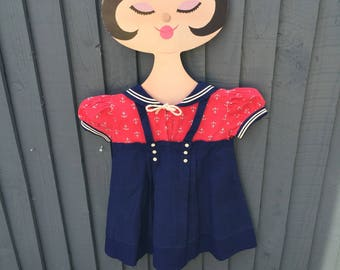 Stunning 1940s sailor dress girls 18 m - 2 years, A line pinafore style, anchor print, red & navy, vintage