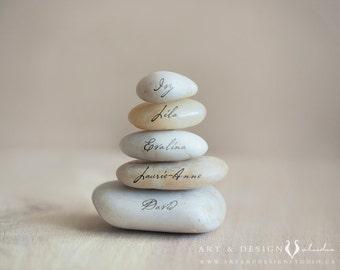 Unique Housewarming Gift Ideas, Personalize Family Gift, Family Name Art, Zen Stacked Stone Art, Family Name Rock Art, Modern Name Art