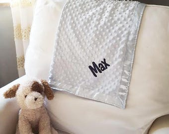 Embroidered Baby Blanket | Monogrammed Fleece and Satin Baby Blanket | Personalized Baby Gift | Shower Gift | Multiple Colors