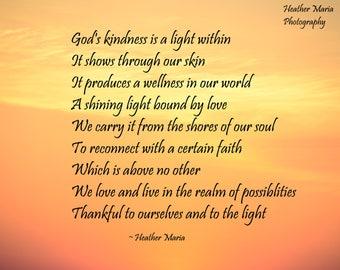 God's Light, Heather Maria inspirational poem upon fine art photography