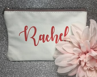 Bridesmaid Makeup Bag / Bridesmaid gift / personalized makeup bag / personalized cosmetic bag/ bridesmaid gift/  custom cosmetic bag