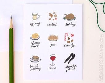 Funny Holiday Card, Humor Holiday Card, Funny Christmas Card, Funny Thanksgiving Card, Holiday Diet Card, Stretchy Pants, A2 Greeting Card