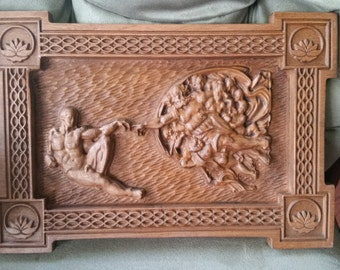 Original Carved Wooden Plaque of the Creation of Adam