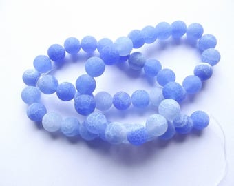 49 blue FLORA-121 8 mm frosted agate round beads