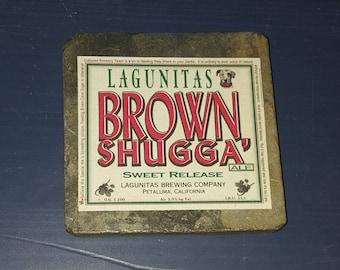 Granite Tile Craft Beer Coaster- Lagunitas Brown Shugga' Ale