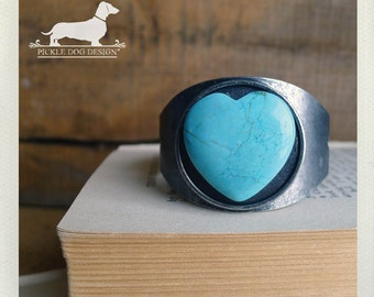 I Heart You. Cuff Bracelet -- (Love, Turquoise, Blue, Valentine Gift, Antiqued Silver, Simple, Rustic, Romantic, Vintage-Style, Under 20)