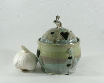 Garlic Keeper Ceramic Bunny Jar Incense Holder Garlic Jar Garlic Pot Garlic Holder Ceramic Bunny Dish 9th anniversary gift for her