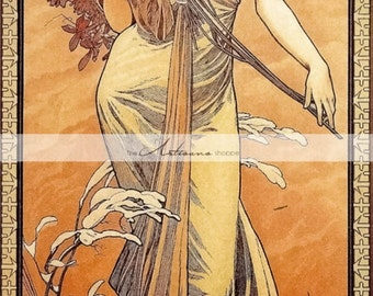 Printable Art Instant Download - Art Nouveau Autumn Woman by Alphonse Mucha - Paper Crafts Scrapbooking Altered Art - Antique Vintage Art