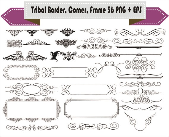 Border Corner Frame Tribal Vintage Retro Vector Clipart PNG EPS Set Digital Files Transparent Scrapbook Supplies Clip Art Instant Download From