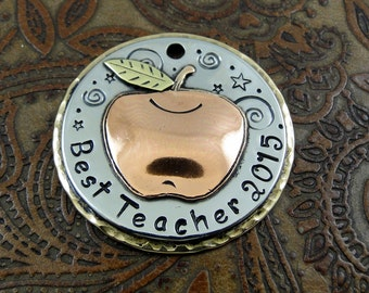 Teacher Of The Year Tag-Apple Teacher of the Year Pendant-Personalized Keychain Fob or Luggage ID Tag