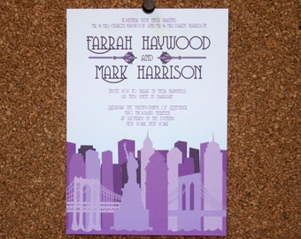 Digital File / Custom New York City Skyline Invitation / Purple / Wedding / Event / Birthday / Bachelorette Party