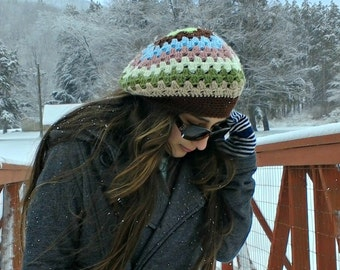 brown striped hat| slouchy beanie| slouch hat| girls winter hat| ladies striped beret