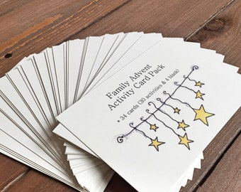 Advent Calendar, Christmas Countdown, Family Advent Activities for Kids, Kids Advent Calendar, Holiday - 3.5 x 5, Set of 34 Activity Cards