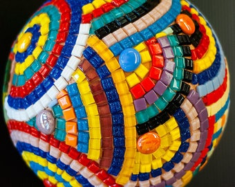 Handmade Mosaic Globe Rainbow Earth diameter 20 cm