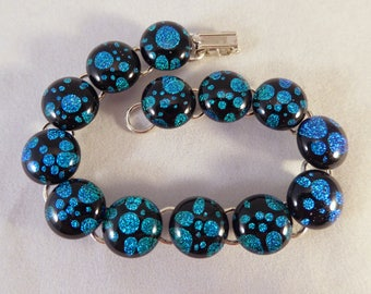 8 Inch Teal Blue and Black Dichroic Fused Glass Bracelet, Fused Glass, Fused Glass Bracelet, Glass Bracelet, Dichroic Bracelet, Dichroic