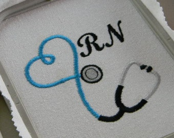 RN Stethoscope Heart ~ 2 Sizes ~ Instant Download ~ Multiple Formats ~ Machine Embroidery Design