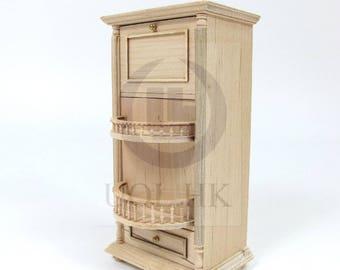 Miniature 1:12 Scale Wine Spirits Storage Bar Cabinet  - Unfinished
