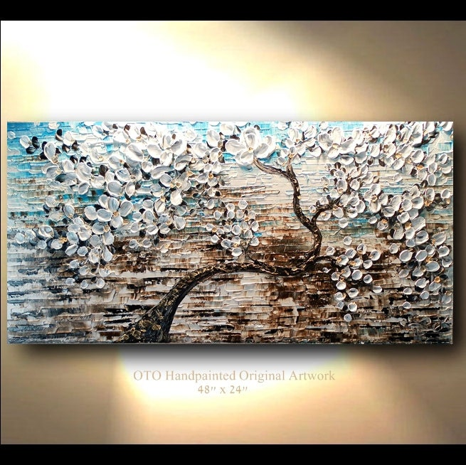 White Gold Brown Blue Flower Abstract Tree painting Art Canvas