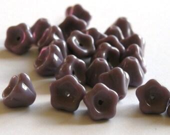 Czech Glass Beads Bell Flower 8x6mm Opaque Purple (25) CZP144