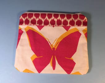 Medium Cosmetic Bag - Bright Pink Butterfly with Lining