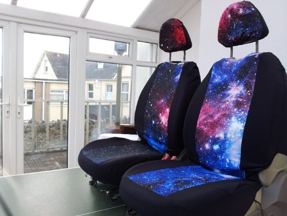 Galaxy print pair car front seat covers space 1999 star wars