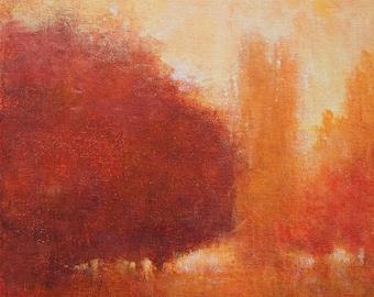 Landscape painting impressionist landscape tonal modern art original painting fall colors by Don Bishop