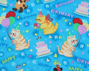 lovely birthday party cat pattern soft Cotton Fabric 48*140 cm 1/2 yard