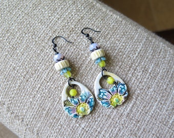 unique yellow chic earrings, shabby chic ceramic earrings, yellow and blue earrings, floral dangle earrings, yellow jewelry, Mother's Day
