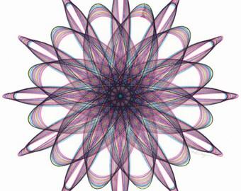 Spiral Drawing, Original Art, Rainbow Art, Geometric Circle Art, Line Drawing, Small Artwork, 8 x 8 Wall Art