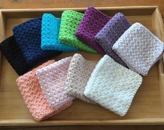 Crochet Cotton Washcloths, Dishcloths. Baby shower, Housewarming, Christmas Gift.