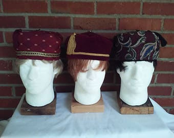 Victorian gentlemen's burgundy smoking/lounging caps