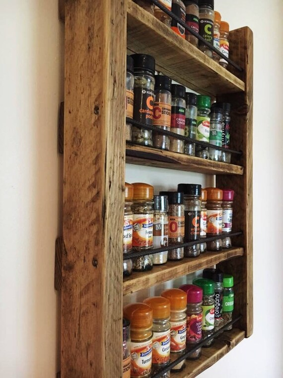Spice Rack Storage For Spices Rustic Wood Kitchen
