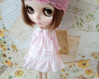 blythe dress for pullip Neo blythe licca dal shibajuku hand made pink clothes outfit doll clothing 1/6 scale vintage style