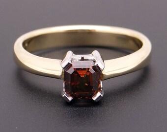 Unique 18k Yellow Gold .60ct Asscher Cut Fancy Orange Brown Diamond Solitaire Ring 6.5