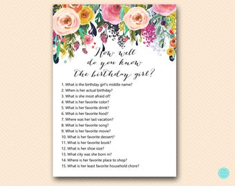 Floral Girl Birthday Party Games, Who knows the Birthday Girl Best, How well do you know the birthday girl, Instant Download BP138