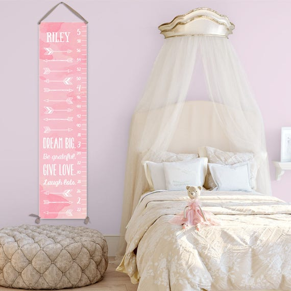 Arrow Growth Chart - Personalized Canvas Growth Chart for Girls, Arrows Art Perfect for Arrow Nursery - GC0002P
