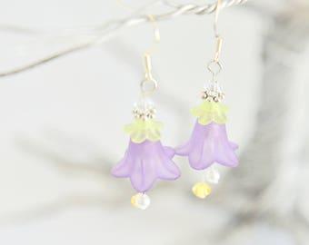 Purple Lucite Flower Drop Earrings