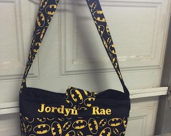 A beautiful batman diaper bag/travel bag