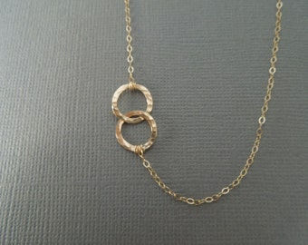 delicate gold necklace, simple gold, dainty gold, thin gold, layered necklace everyday off center bridesmaids, two connected circles, N104