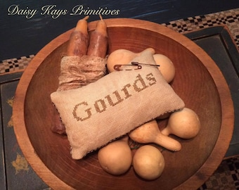 Rustic Home Decor | Primitive Fall Pillow Tuck Pin Keep | Autumn Decorations| Farmhouse Primitive Decor  | Gourds | Bowl Filler | Rusty Pins