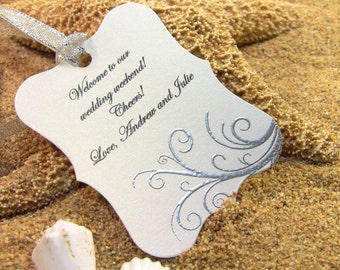 10 Silver Thank You Tags, Customize Any Color and Message, Wedding Favor Tags, Hand Embossed Starfish Thank You Tags,  Showers Hand Embossed