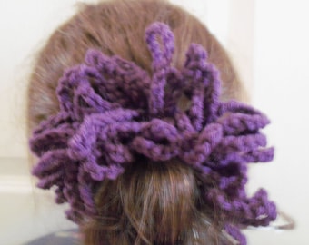 Newly Crocheted Large Size Dark Plum Hair Scrunchie