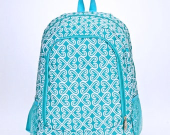 Aqua Swirl Monogram Backpack | Monogram Book Bag |  Book Carrier | Campus Must Have | Back to School | Birthday Gift | Blue Swirly Bag