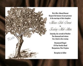 Tree Invitation & RSVP Tree Wedding Invitation Apple Tree Wedding Invitation  Tree Invitations - Tree Design 32