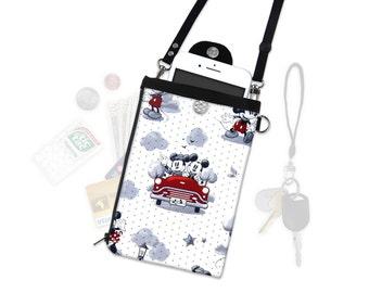 Disney Mickey Minnie Mouse Retro Crossbody Phone Wallet Hip Bag Travel ID Wallet Vacation Wallet Passport Wallet Adjustable Straps