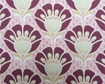 Fabric flower Art Deco pink plum and gold, nadège fabrics, 1/2 meter