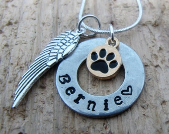 Pet memorial necklace,Loss of pet,hand stamped necklace,jewelry,sympathy gift,Death of dog,Death of cat, Memorial necklace for pet, Necklace